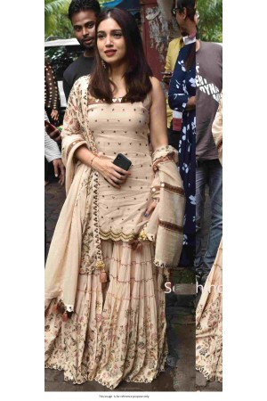 Bollywood Bhumi Pednekar Inspired beige silk sharara