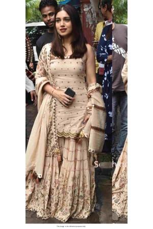 Bollywood Bhumi Pednekar Inspired beige silk sharara
