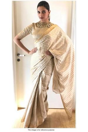 Bollywood Deepika Padukone Off white gold Pure silk saree