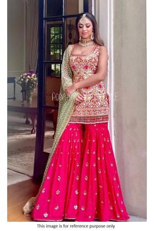 Bollywood Poonams Kaurture inspired Ivory and pink silk sharara