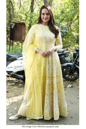 Bollywood Sonakshi sinha yellow Lucknowi anarkali