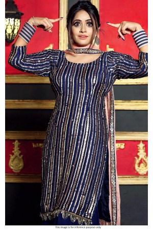 Bollywood model blue sequins salwar kameez