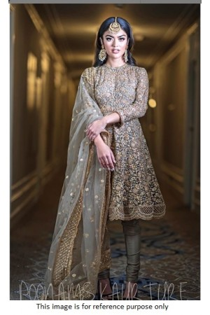 Bollywood Poonam Kaurture inspired grey silk churidar