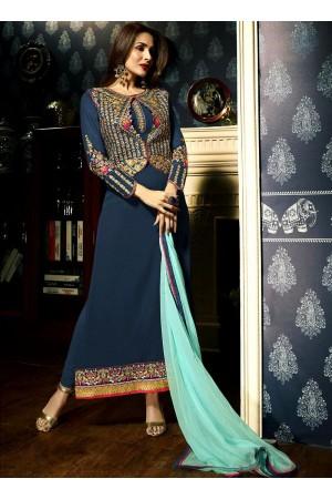 Malaika Arora khan Firozi color georgette color party wear salwar Kameez