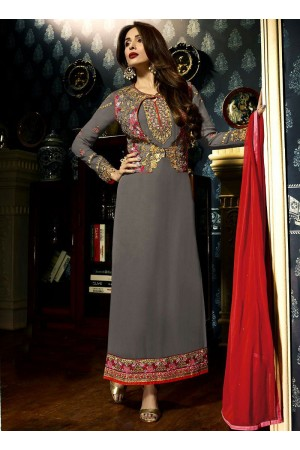 Malaika Arora khan georgette Grey color party wear salwar Kameez