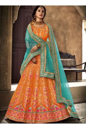 Orange and Rama green brocade wedding lehenga