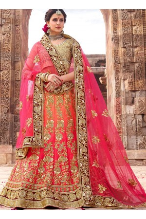 Pink and orange shaded satin silk and net wedding lehenga