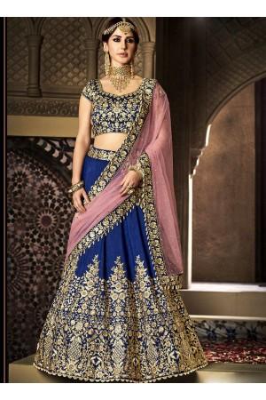 Navy blue and pink handloom silk wedding lehenga