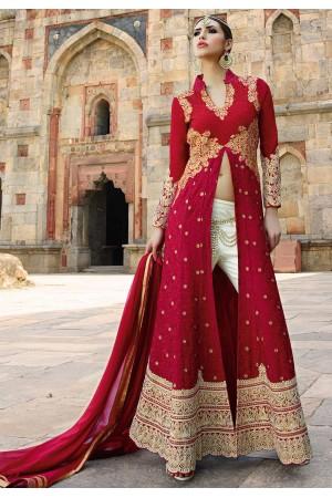 Fuchsia Red color georgette wedding wear anarkali suit