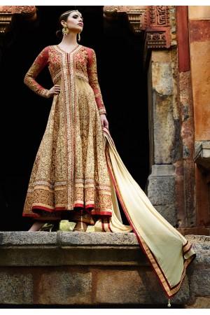Beige and red color net wedding wear anarkali suit