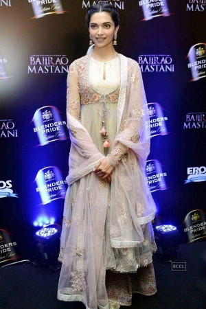 Deepika Padukone white color netted Bollywood anarkali salwar kameez