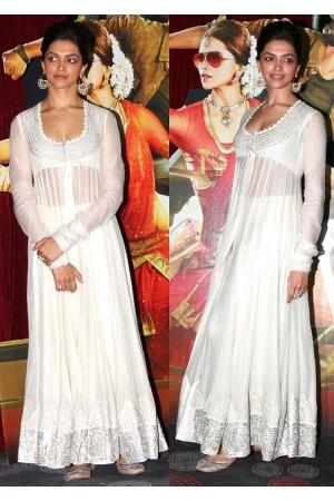 Deepika White Anarkali