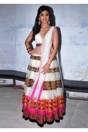 Shilpa shetty White Anarkali
