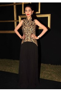 Amrita Rao black and gold outfit