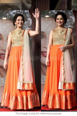 Madhuri Dixit orange and gold Bollywood Anarakali