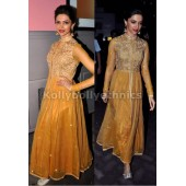 Deepika yellow anarkali chennai express promo suit
