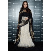 Aishwarya rai white and black long floor length anarkali suit