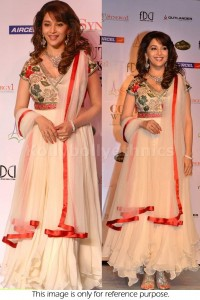 Madhuri dixit cream designer Bollywood Anarakali