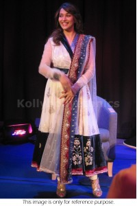 Madhuri dixit white and blue deisgner anarkali