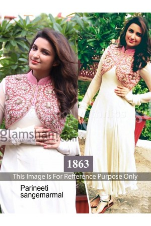 Parineeti chopra jacket style white Bollywood Anarakali