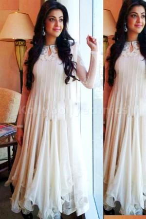 Kajal agarwal white Bollywood Suit