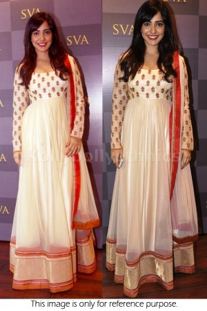 Neha Sharma Cream Colour Anarkali
