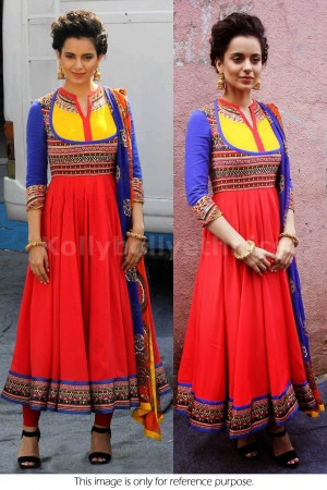 Kangana ranaut Red blue and yellow anarkali