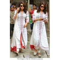 Priyanka chopra white and red designer churidar