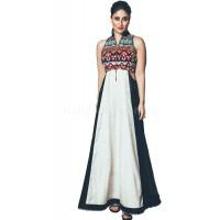 Bollywood Style Kareena kapoor white and black raw silk kurti