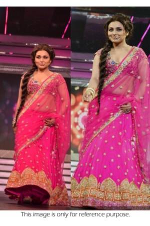 Rani Mukerjee Pink Lehenga style saree