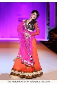 Gauharkhan in orange & pink Lehenga  at WIFW
