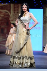 Divya Khosla Gold and beige lehenga