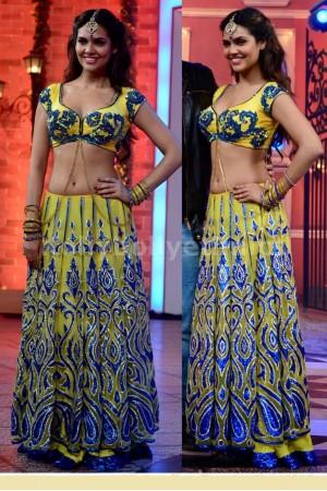 Esha Gupta yellow and blue lehenga