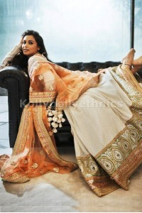 Rani Mukerkee cream and orange colour lehenga choli