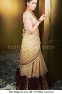 Kareena kapoor gold and beige Bollywood Lehenga