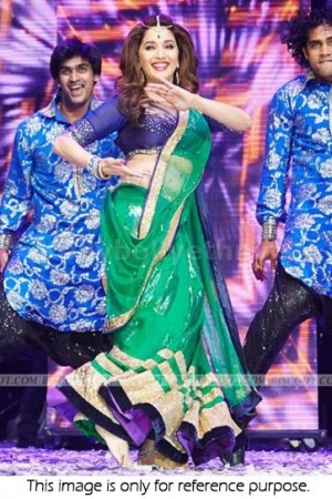 Madhuri dixit green and dark blue Bollywood Lehenga
