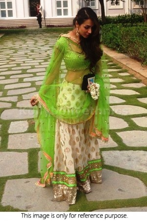 Malaika Arora Khan off white and parrot green lehenga