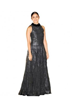 Alia bhatt Black colour Net and cotton bollywood gown