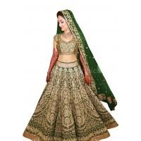 Bollywood model green color raw silk wedding lehenga choli