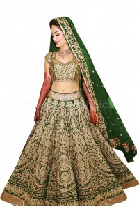 Bollywood model green color raw silk wedding lehenga choli