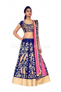 Bollywood model royal blue color raw silk wedding lehenga choli