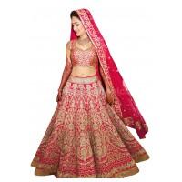 Bollywood model pink color raw silk wedding lehenga choli