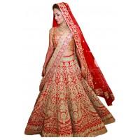 Bollywood model red color raw silk wedding lehenga choli