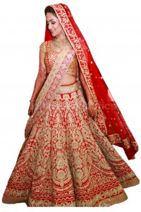 Bollywood model red color raw silk wedding lehenga choli
