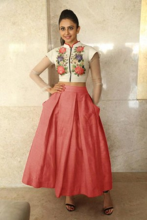 Bollywood Style Rakul Preet singh white and peach color bangalori silk lehenga choli
