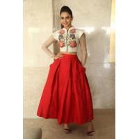 Bollywood Style Rakul Preet singh white and red color bangalori silk lehenga choli