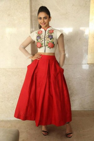 Bollywood Style Rakul Preet singh white and red color bangalori silk lehenga choli