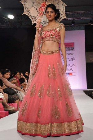 Pink lakme fashion floral lehenga