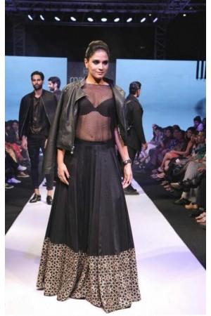 Bollywood model black color georgette lehenga choli