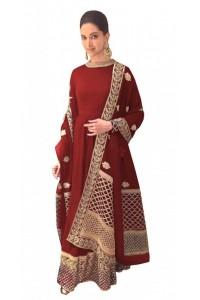Bollywood Style Deepika padukone red georgette anarkali suit